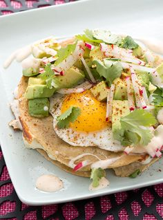 Kale & Monterey Jack Quesadillas with Avocado, Radishes & Fried Eggs Vegetarian Recipes, Cooking Recipes, Healthy Recipes, Sans Gluten, Gluten Free, Mexican Dishes, The Fresh, Kale, Blue Apron