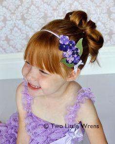 Annabelle Felt Flower Headband - Lavender, Plum, and Purple Wool Felt Flowers with Swarovski Crystals - Baby Headband to Adult Headband