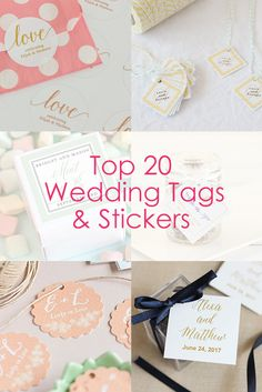 Find the best tags & stickers for your wedding favors! From personalized round labels jars to wine bottle labels, we've got you covered.