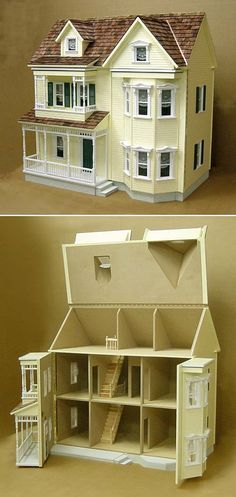 Doll house plans miniatures victorian dollhouse Ideas for 2019 Dollhouse Kits, Victorian Dollhouse, Dollhouse Dolls, Dollhouse Miniatures, Modern Dollhouse, Miniature Houses, Miniature Dolls, Doll Furniture, Dollhouse Furniture