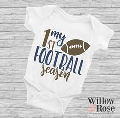 My First Football Season Boy/Girl Baby Onesie (Blue), Baby Boy Football, Football Onesie, Boy Onesie, Alabama Football, American Football, College Football, Newborn Onesies, Newborn Baby Boy Gifts, Baby Shirts