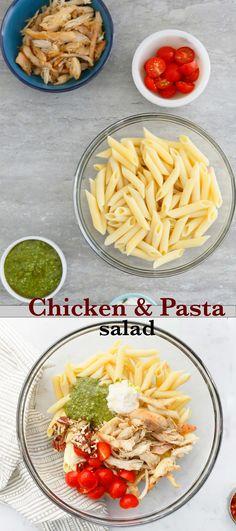 Pasta Dinner Recipes, Chicken Pasta Recipes, Pasta Salad Recipes, Chicken Pesto Pasta Salad, Summer Pasta Salad, Cold Pasta, Fun Easy Recipes, Creamy Chicken, School Lunch