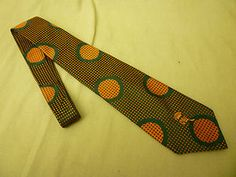 Countess Wara Men's Tie New York USA Green Orange Textured Shiny Geometric | eBay