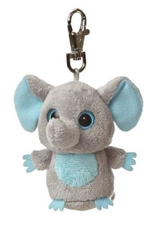"""grey Clip On Elephant from Aurora's YooHoo & Friends Collection.  Great for decorating Backpacks.  3"""" Tall."""