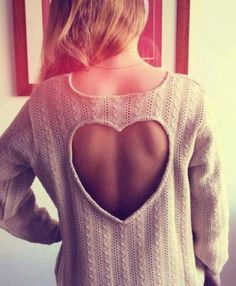 Open back cream heart sweater - WTF this is redonk. 1 sweaters are for COLD weather aka you don't want half your back hanging out and HELLOOOO BACK FAT? Look Fashion, Diy Fashion, Fashion Beauty, Ideias Fashion, Autumn Fashion, Womens Fashion, Teen Fashion, Fashion Clothes, Latest Fashion