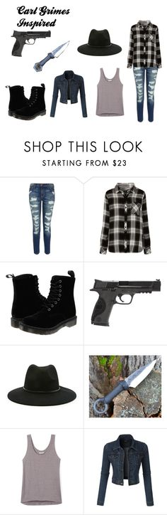 """""""Carl Grimes Inspired"""" by nascattheawesome12 ❤ liked on Polyvore featuring Current/Elliott, Rails, Dr. Martens, Smith & Wesson, Forever 21, Rebecca Minkoff and LE3NO"""