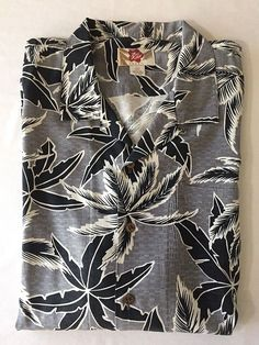 2XL Mens Hawaiian Shirt Silk Hilo Hattie Black Gray White Palm Tree Print  Aloha  Hawaiian 79a108c91