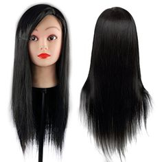 CoastaCloud 24 Hairdressing Cutting Practice Manikin Training Model Mannequin Head with Human Hair Black  Ashley * Visit the image link more details. (This is an affiliate link) #HairExtensions