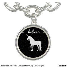Believe in Unicorns Design Starry Sky Background Bracelets