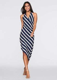 9ba6ecece4 Sukienka asymetryczna • ciemnoniebiesko-biały w paski • bonprix sklep  Spódnice