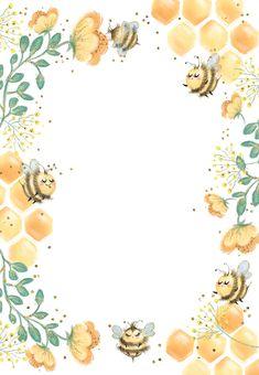 Birthday Card Template, Birthday Invitation Templates, Diy Invitations, Flower Background Wallpaper, Flower Backgrounds, Background Patterns, Invitation Background, Flower Invitation, Bee Template