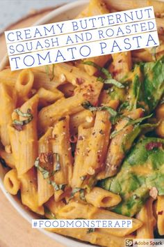 recipes plant based Creamy Butternut Squash and Roasted Tomato Pasta [Vegan] Check out these awesome vegan, plant-based, simple recipe on the Food Monster App! And don& forget to pin to your favorite board! Seafood Recipes, Mexican Food Recipes, Whole Food Recipes, Vegetarian Recipes, Healthy Recipes, Simple Recipes, Simple Vegan Meals, Veg Pasta Recipes, Fast Recipes