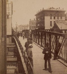 Crossing the State Street Bridge, 1893, Chicago.