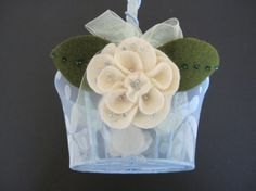 Flower Girl Basket Wedding Blue Ivory Green hydrangea with leaves choose your colors by ArtisanFeltStudio, $30.00
