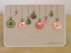 Christmas card - button ornaments!
