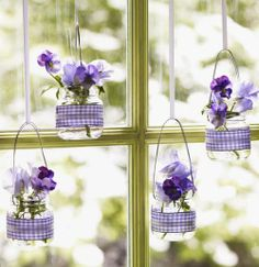 repurposed baby-food jars become gingham-banded, light-infused hanging vases for pansies. Read more: Purple Flowers - Purple Easter Crafts - Good Housekeeping Pot Mason Diy, Mason Jar Crafts, Mason Jars, Candle Jars, Baby Jars, Baby Food Jars, Bottles And Jars, Glass Jars, Glass Containers