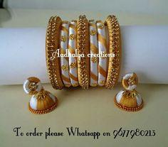 Silk Thread Earrings, Silk Thread Bangles, Thread Jewellery, Gold Jewelry Simple, Simple Necklace, Necklace Set, Bead Crafts, Jewelery, Jewelry Making