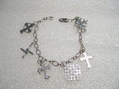 "Vintage Sterling SIlver Mixed Cross Charm Bracelet, 7.5"" - mixed ethnic - 11.67g #unbrandedonecrosssignedwith #charmbraceletallcrosses"