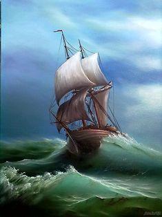Ship Paintings, Seascape Paintings, Sea Pictures, Nature Pictures, Watercolor Landscape, Landscape Art, Old Sailing Ships, Beautiful Landscape Wallpaper, Sailboat Painting