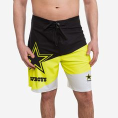*SEP* *SEP* Whether you're headed to the beach, the boardwalk, or the ballgame, show off your team pride with every stride in these Dallas Cowboys Highlights Boardshorts! Features All-over, black, white, and bright, neon yellow design so you can rep the team in style Bold team logo display, in case there were any doubts where your allegiances lie Elastic waistband to keep you feeling comfortable and looking good Adjustable drawstring, because the only thing worse than losing a big game is… Style Bold, Boardshorts, Bold Fashion, Big Game, Neon Yellow, Dallas Cowboys, Team Logo, Highlights, Pride