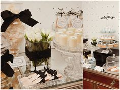 black and white dessert buffet