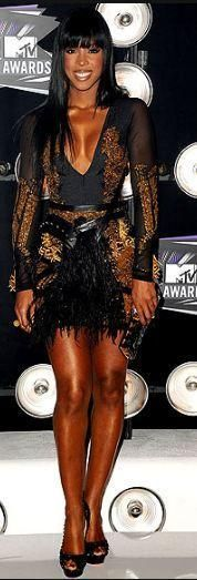 Who made Kelly Rowland's black dress that she wore to the MTV Music Video Awards in Los Angeles on August 28, 2011? Dress – Falguni & Shane  Shoes – Christian Louboutin