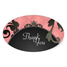 Thank You Seal - Black and Coral Damask Wedding Stickers