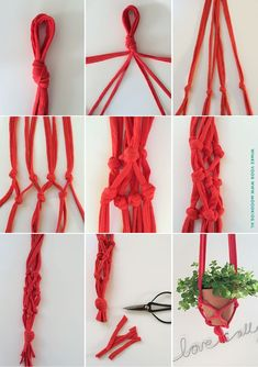 Zelf een plantenhanger maken. Lees de uitleg & stap-voor-stap foto's op de site.