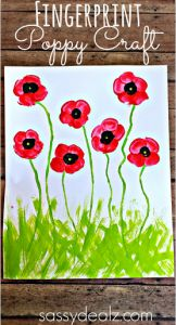 Fingerprint Poppy Flower Craft for Kids
