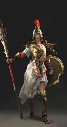 Commercial work , a design of Athena for Chinese Client. Done in 2015 Character Design Athena Fantasy Female Warrior, Female Armor, Fantasy Armor, Fantasy Girl, Greek Warrior, Warrior Girl, Medieval Combat, Deviantart Fantasy, Athena Goddess