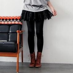 Inset Lace Skirt Leggings. #yesstyle $18.00  have it and love it. the lace is really soft and there is a layer of tulle underneath the lace