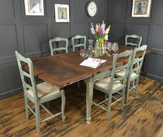 Add some elegance to your dining room, with this French Louis extending oak dining table and 6 chairs. We've painted in Duck Egg Blue with Old White detailing, lightly distressed and aged with dark wax. http://www.thetreasuretrove.co.uk/tables/extending-shabby-chic-french-louis-dining-table-with-6-chairs