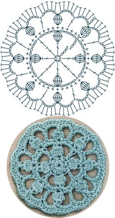 No.32 Bobble-spoked Medallion Lace Crochet Motifs / 버블-스포크 모티브도안