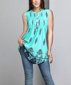 Look at this #zulilyfind! Turquoise Damask Sleeveless Pin Tuck Notch Neck Tunic - Plus #zulilyfinds
