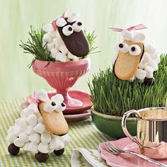 lambs made from Milano cookies and marshmallows
