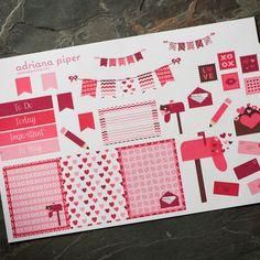 Valentines Kit 1 Stickers for Erin Condren Life Planner, Plum Paper Planner, Filofax, Kikki K, Calendar Scrapbook SH-126 by adrianapiper on Etsy