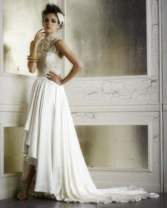 This Glamorous High-Low Combo | 36 Ultra-Glamorous Two-Piece Wedding Dresses  LOVE IT