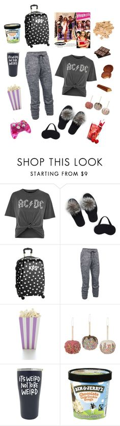 """""""Sleepover Prep [11/3/17]"""" by lucyrene ❤ liked on Polyvore featuring Topshop, Portolano, PBteen, Under Armour, Kurt Adler and Hershey's"""