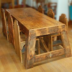 mission oak furniture. Large Table And Six Hand Carved Wood Chairs By William Shuster -. Find This Pin More On Mission Oak Furniture