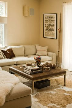 Laather coffee table + ottoman, nice neutral sectional