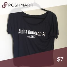 navy AOII tunic cute slouchy AOII sorority tunic. super soft and comfy, off the shoulder alpha omicron pi Tops Tunics