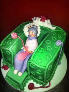Arm chair knitting granny cake Knitting Cake, How To Make Cake, Armchair, Desserts, Food, Sofa Chair, Tailgate Desserts, Single Sofa, Deserts