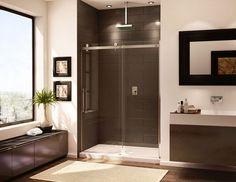 Bathroom  Rectangular Rug Ideas With Modern Cabinets And Marvellous Frameless Shower Door Plus Wall Mounted Faucet Frameless Shower Doors Complete the Captivating Master Bathroom Interior Design