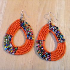 "African-Arena Maasai Masai Handmade Beaded Tear Drop Colorful Mix Seed Beads Fashion Dangle Earrings. Measures Approx 3"" long by 1.5"" width. 
