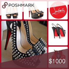 7485c7f4418 CHRISTIAN LOUBOUTIN CLOU NOEUD SPIKED PUMPS Black leather Christian  Louboutin Clou Noeud slingback pumps with silver