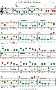 Color-coded free fiddle sheet music for Irish Washerwoman - would be fine for beginning piano, too