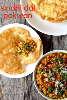 Dal Pakwan recipe, a Sindhi breakfast that consists of a crisp flatbread served along with a tasty chana dal drizzled with green chutney. The best regional Indian cuisine breakfast dishes out there. Veg Recipes, Indian Food Recipes, Vegetarian Recipes, Cooking Recipes, Ethnic Recipes, Indian Snacks, Gujarati Recipes, Savoury Recipes, Bread Recipes