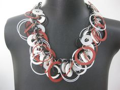 Industrial Jewelry This necklace measures 19 inches. I have used MANY red, black and white round rings to make a full and thick necklace. These