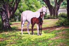 Horse painting by Debi Fitzgerald - mare and foal