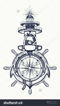 72604032 anchor steering wheel compass lighthouse tattoo art symbol of maritime adventure tourism travel old 13 Symbolic Tattoos, Unique Tattoos, New Tattoos, Body Art Tattoos, Tattoos For Guys, Sleeve Tattoos, Tatoos, Bird Tattoos, Feather Tattoos